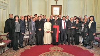 La delegazione in visita al patriarca Bechara Ray