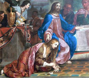 """Giovanni Andrea Sirani """"La cena in casa del Fariseo"""" 1652. Particolare"""