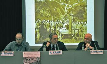 Da sinistra don Bruno Bignami, Alessandro Campi, Giuliano Masciarri