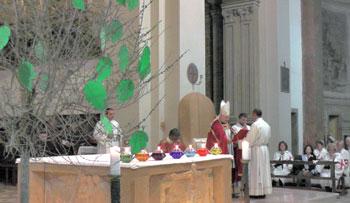 L'albero dei carismi durante la veglia di Pentecoste
