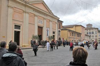 La chiesa santuario di San Francesco a Foligno dove è custodita la tomba della mistica francescana santa Angela