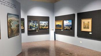 Una delle sale espositive della mostra a palazzo Baldeschi