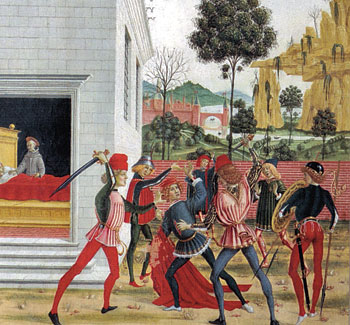 San Bernardino cura un uomo rimasto ferito in un agguato (opera del Pinturicchio)