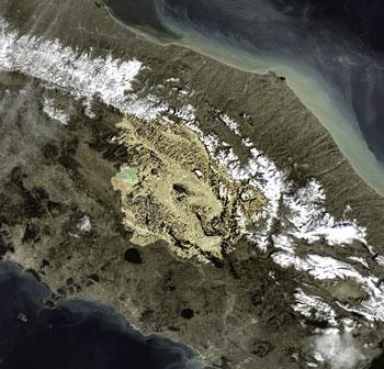 L'Umbria vista dallo spazio (foto esa.int)