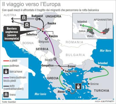 Nella mappa: le principali rotte seguite dai recenti flussi migratori, con quali mezzi si muovono le persone che cercano rifugio nel nostro Continente, e quali barriere incontrano