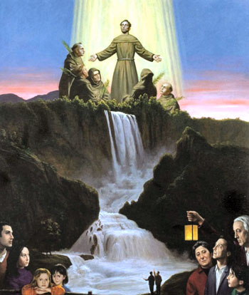 """Nella foto: Stefano di Stasio, """"San Francesco e la gloria dei cinque martiri"""", dal ciclo pittorico dedicato ai Protomartiri"""