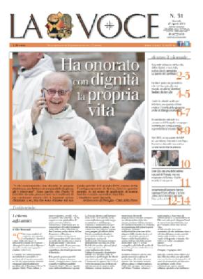 La prima pagina del numero speciale de La Voce uscito in memoria di don Elio Bromuri