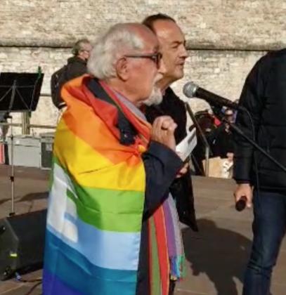 Alex Zanotelli e Mimmo Lucano alla Marcia per la pace Perugia Assisi 2021